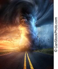 A Powerful Tornado At Sunset