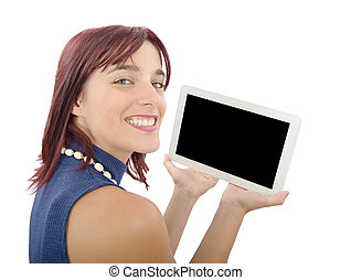 young woman with a digital tablet