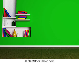 a room in bright colors with the niche,