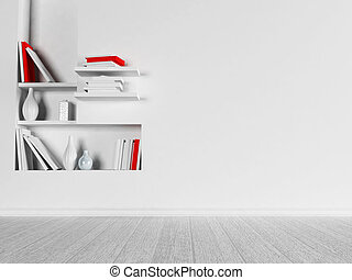 a room in white colors with the niche,