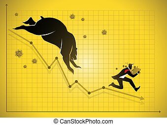 A scared businessman with piggy bank running from virus and stock market