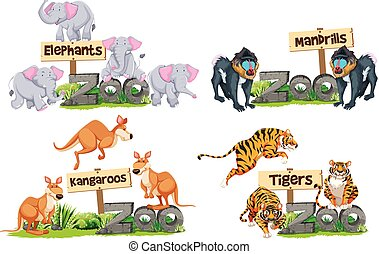 A set of animals and sign