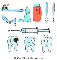 A set of dental tools and teeth in the doodle style