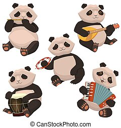 A set of pandas playing musical instruments. Image isolated on white background. Vector graphics.