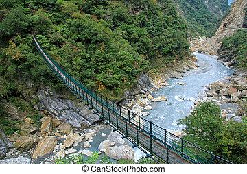 A Suspension Footbridge crossing Taroko Gorge National Park, Taiwan