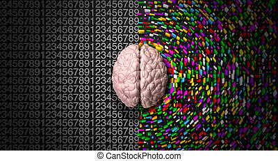A typical brain with the left side depicting an analytical, structured and logical mind, and the right side depicting a scattered, creative and colorful side.