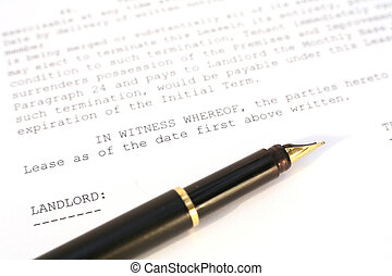 A US property lease document with a gold-nibbed pen