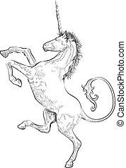 A vector illustration of a rampant (standing on hind legs) unicorn
