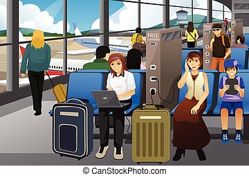 Travelers Charging Their Electronic Devices in an Airport