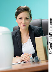 a woman in office business