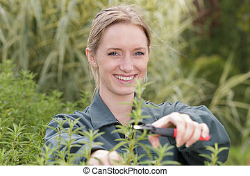 a young woman trimming plant