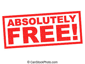 ABSOLUTELY FREE! red Rubber Stamp over a white background.