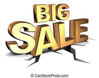 abstract 3d illustration of big sale sign, on ground with crack