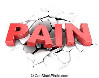 abstract 3d illustration of pain text and cracks