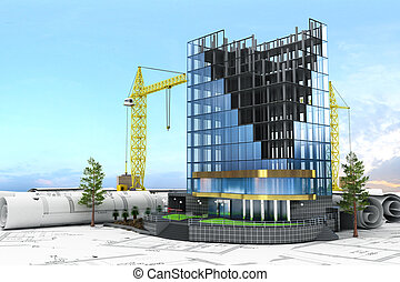 Abstract 3d of building development concept. Office building in process of construction.