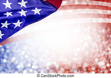 Abstract background design of USA flag and bokeh for 4 july independence day and other celebration