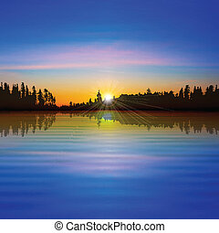 abstract background with forest lake and pink clouds