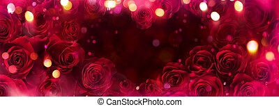Abstract Defocused Valentines Card With Red Roses In Heart Shape