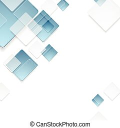 Abstract geometric tech blue squares design