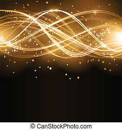 Abstract golden wave pattern with stars