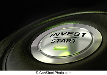 abstract invest start button, metal material, green color and black textured background. Focus on the main word and blur effect. Investment concept