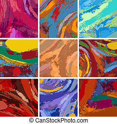 Vector Illustration Set of Abstract Painting Background Design