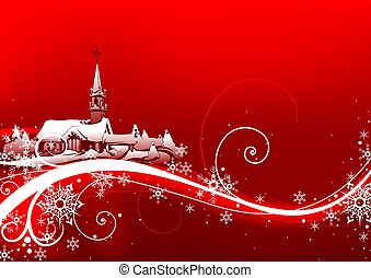 Abstract red xmas - background illustration
