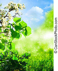 Abstract summer backgrounds with green grass and apple tree