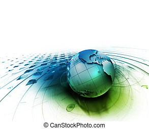 abstract technology background with the planet on a white backdrop