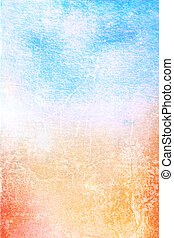 Abstract textured background: blue, yellow, and red patterns on white backdrop. For art texture, grunge design, and vintage paper / border frame