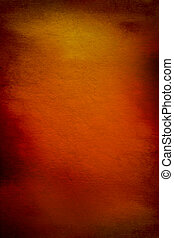 Abstract textured background with red, brown, and yellow patterns on orange backdrop. For art texture, grunge design, and vintage paper / border frame
