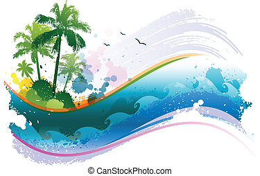 Abstract tropical waving background
