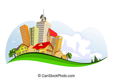 Colorful abstract vector city . Vector art