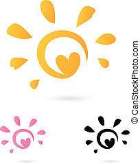 Abstract vector Sun icon with Heart - orange & pink, isolated o