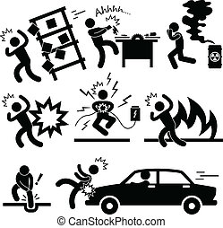 A set of pictogram representing risk and accident.