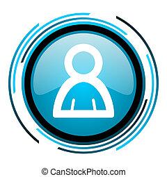 account blue circle glossy icon