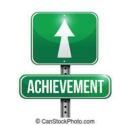 achievement street sign illustration design over a white background