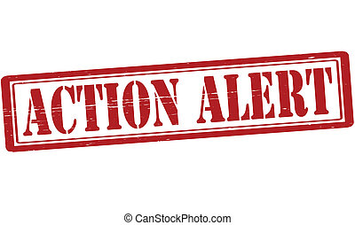 Stamp with text action alert inside, vector illustration