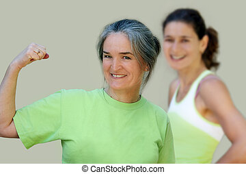 Athletic mother and daughter