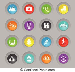 active recreation colored plastic round buttons icon set