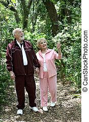 Active Seniors Walk in Woods