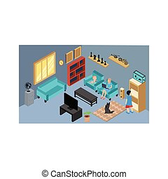 activities in the family room from home isometric living room interior