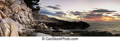Adiratic panorama sunset
