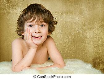 five year old boy studio portrait
