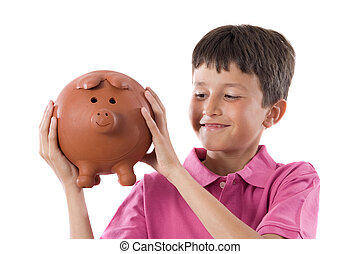 Adorable child with moneybox