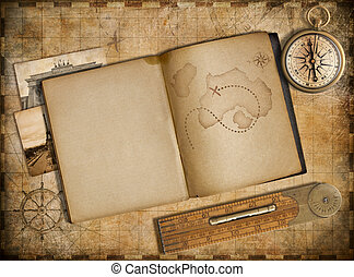 Adventure and travel concept. Vintage map, copybook and compass