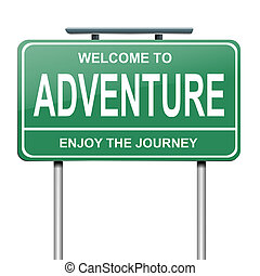 Illustration depicting a green roadsign with an adventure concept. White background.