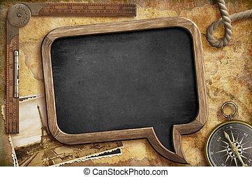 Adventure retro concept. Nautical vintage blackboard background.