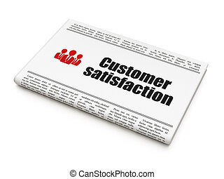 Advertising news concept: newspaper headline Customer Satisfaction and Business People icon on White background, 3d render