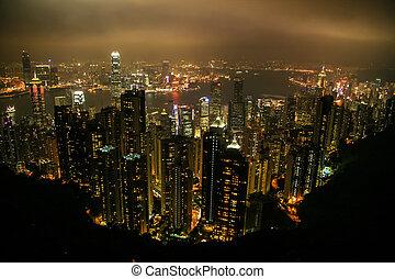 Aerial view of modern Hong Kong, China, Asia